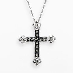 Lavish by TJM Sterling Silver Cross Pendant - Made with Swarovski Marcasite