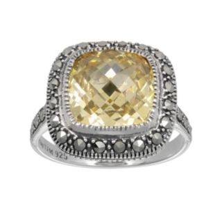 Lavish by TJM Sterling Silver Canary Cubic Zirconia Ring - Made with Swarovski Marcasite