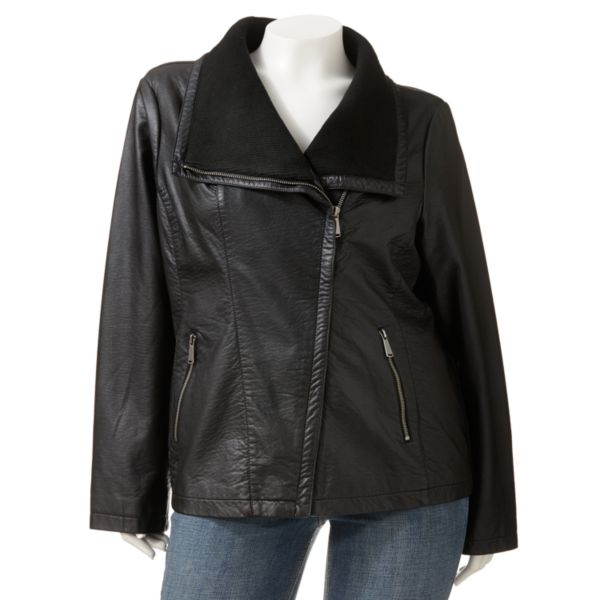 Apt. 9 FauxLeather Motorcycle Jacket Women,s Plus