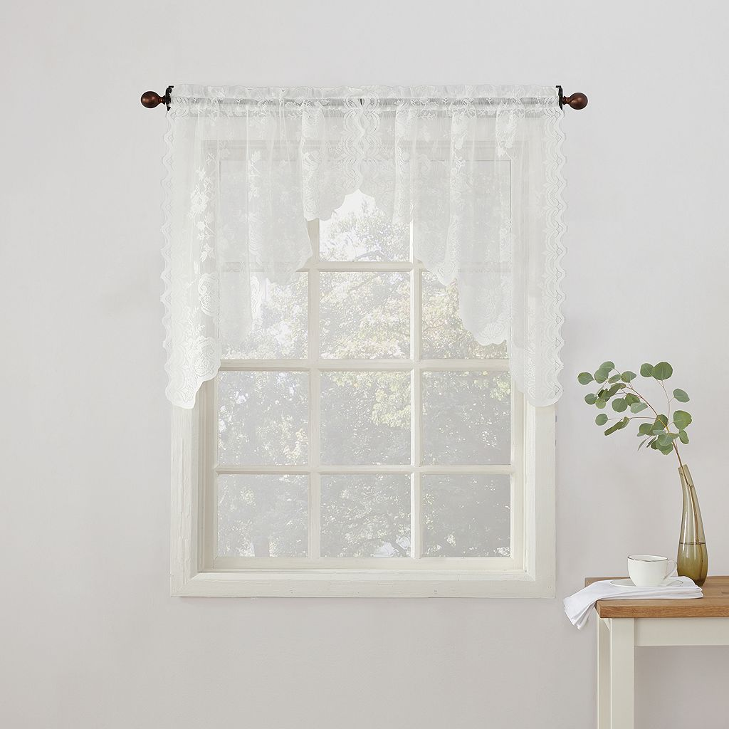 No918 Alison Floral Lace Sheer Kitchen Curtain Swag Window Valance Pair