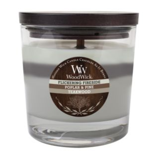 WoodWick Flickering Fireside, Poplar and Pine and Teakwood 10 1/2-oz. Jar Candle