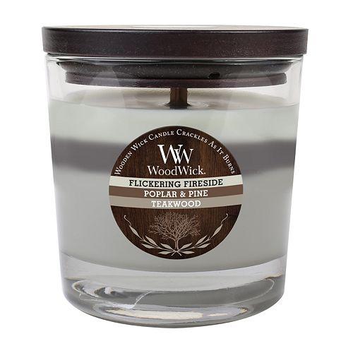 WoodWick Flickering Fireside, Poplar, Pine & Teakwood 10 1/2-oz. Jar Candle