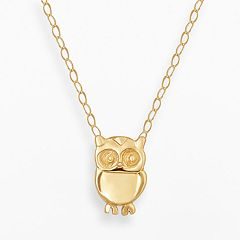 Teeny Tiny by Everlasting Gold 14k Gold Owl Necklace