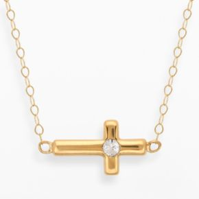 Teeny Tiny by Everlasting Gold 14k Gold Crystal Sideways Cross Necklace