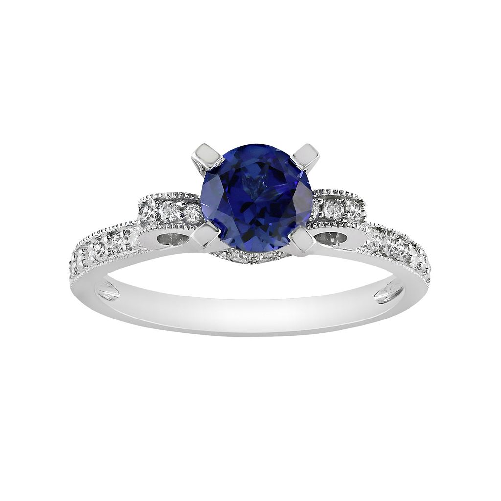 Diamond & Lab-Created Sapphire Bow Engagement Ring in 10k White Gold (1/4 ct. T.W.)