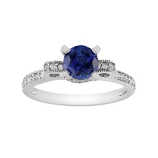 Diamond and Lab-Created Sapphire Bow Engagement Ring in 10k White Gold (1/4 ct. T.W.)