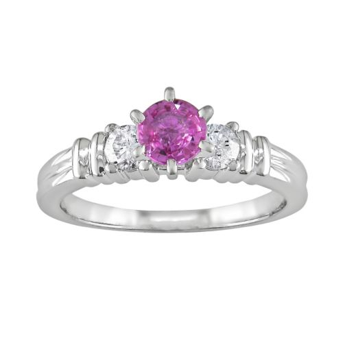 Diamond and Pink Sapphire Engagement Ring in 14k White Gold (1/4 ct. T.W.)
