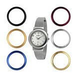 Peugeot Two Tone Mesh Watch & Interchangeable Bezel Set - 642