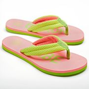 SO Neon Mesh Chop-Out Imprint Flip-Flops