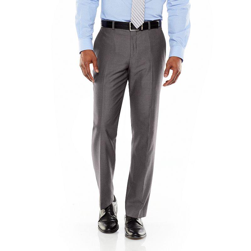Apt. 9 Slim-Fit Birdseye Flat-Front Charcoal Suit Pants - Men
