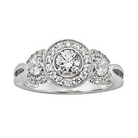 IGL Certified Diamond 3-Stone Engagement Ring in 14k White Gold (1 ct. T.W.)