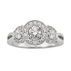 IGL Certified Diamond 3-Stone Engagement Ring in 14k White Gold (1 ctT.W.)