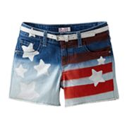 SO Americana Belted Denim Shorts - Girls 7-16
