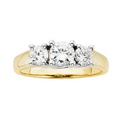 18k Gold Two Tone 1 ctT.W. Round-Cut IGL Certified Colorless Diamond 3-Stone Ring