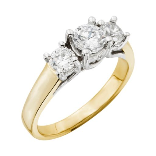 18k Gold Two Tone 1-ct. T.W. Round-Cut IGL Certified Colorless Diamond 3-Stone Ring