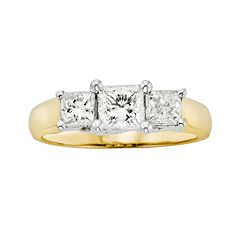 18k Gold Two Tone 1 ctT.W. Princess-Cut IGL Certified Colorless Diamond 3-Stone Ring