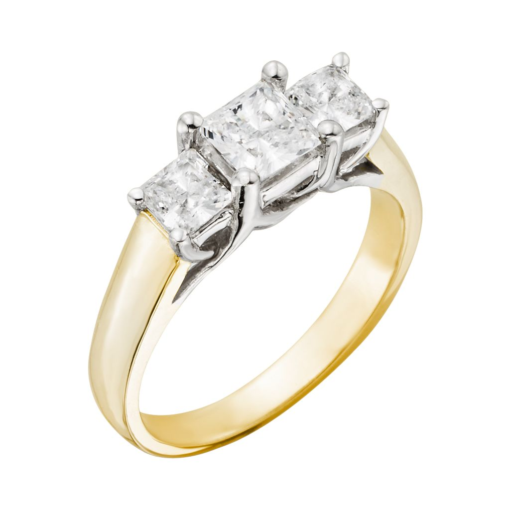 18k Gold Two Tone 1-ct. T.W. Princess-Cut IGL Certified Colorless Diamond 3-Stone Ring