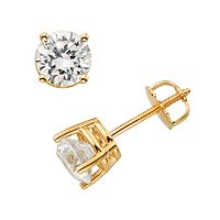 18k Gold 1 ctT.W. Round-Cut IGL Certified Colorless Diamond Stud Earrings
