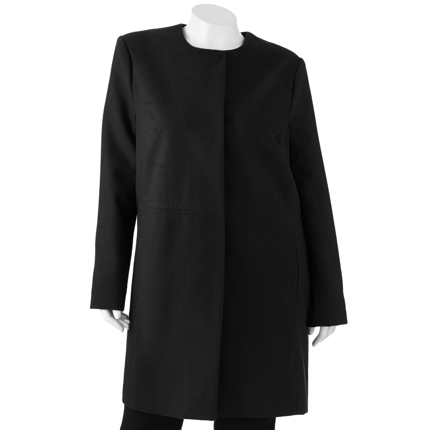 Apt. 9 Collarless Coat - Women's Plus