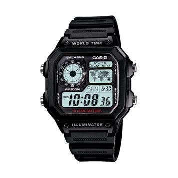 Casio Men's World Time Digital Chronograph Watch - AE1200WH-1AV