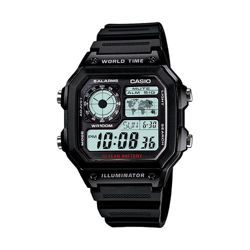 Casio Men's World Time Digital Chronograph Watch - AE1200WH-1AV