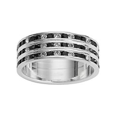 Traditions Silver Plate Black & White Crystal Multirow Ring