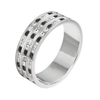 Traditions Silver Plate Black and White Crystal Multirow Ring