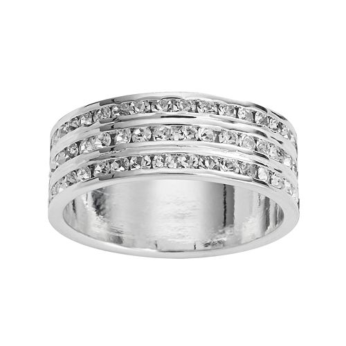 Traditions Silver Plate Crystal Multirow Ring