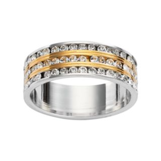 Traditions 18k Gold Plate and Silver Plate Swarovski Crystal Multirow Ring