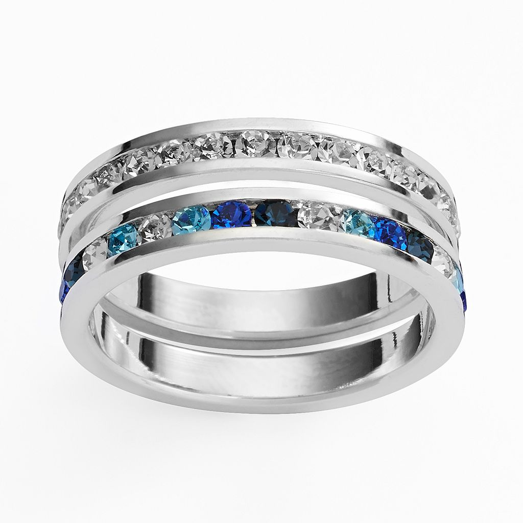 Traditions Silver Plate Blue & White Swarovski Crystal Stack Ring Set