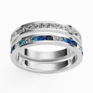 Traditions Silver Plate Blue and White Swarovski Crystal Stack Ring Set