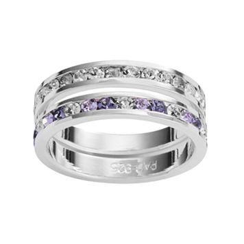 Traditions Silver Plate Purple & White Swarovski Crystal Stack Ring Set