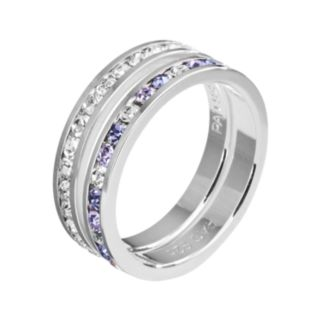 Traditions Silver Plate Purple and White Swarovski Crystal Stack Ring Set