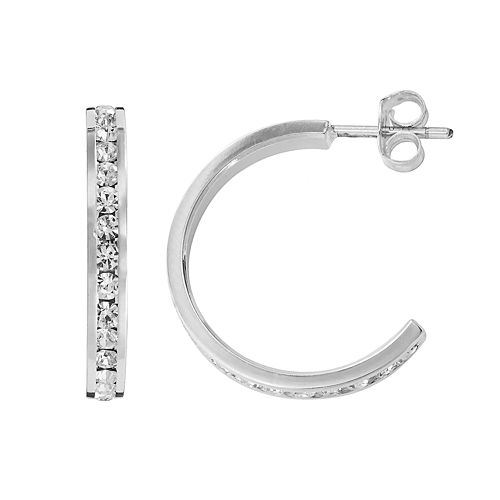 Traditions Silver Plate Swarovski Crystal Hoop Earrings