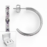 Traditions Silver Plate Purple & White Swarovski Crystal Hoop Earrings