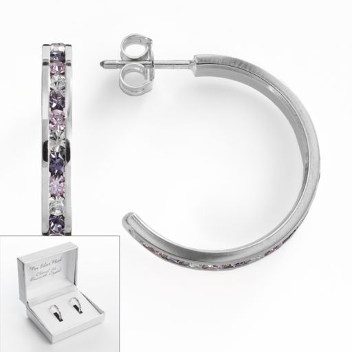 Traditions Silver Plate Purple and White Swarovski Crystal Hoop Earrings