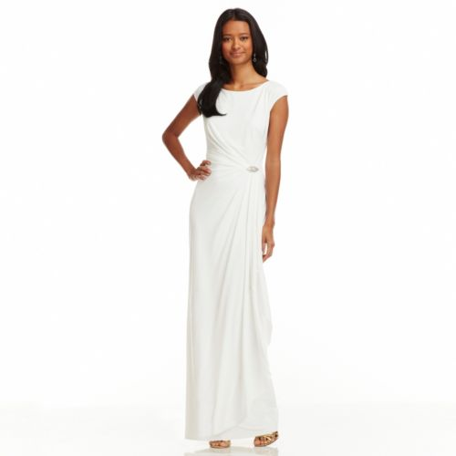 Chaps Embellished Faux-Wrap Evening Gown - Women's