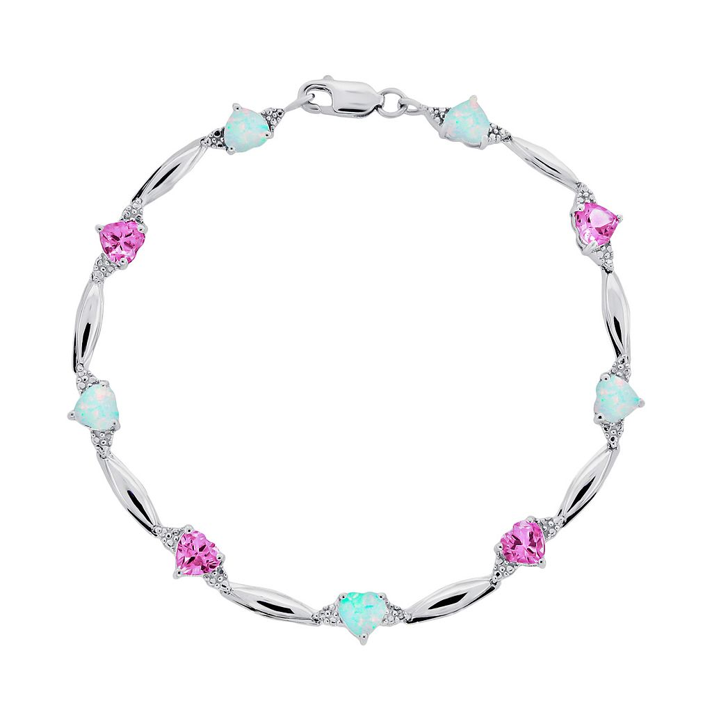 Sterling Silver Lab-Created Pink Sapphire, Lab-Created Opal & Diamond Accent Heart Bracelet