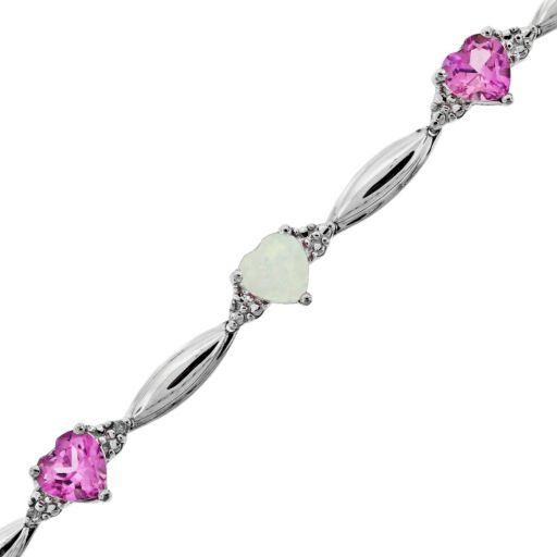 Sterling Silver Lab-Created Pink Sapphire, Lab-Created Opal and Diamond Accent Heart Bracelet