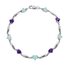 Sterling Silver Amethyst, Lab-Created Opal & Diamond Accent Heart Bracelet