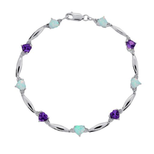 Sterling Silver Amethyst, Lab-Created Opal and Diamond Accent Heart Bracelet