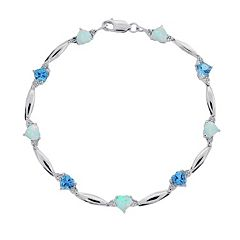 Sterling Silver Blue Topaz, Lab-Created Opal and Diamond Accent Heart Bracelet