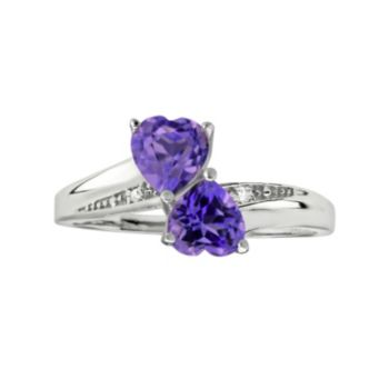 Sterling Silver Amethyst & Diamond Accent Heart Bypass Ring