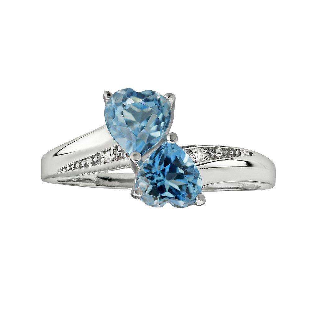 Sterling Silver Blue Topaz & Diamond Accent Heart Bypass Ring