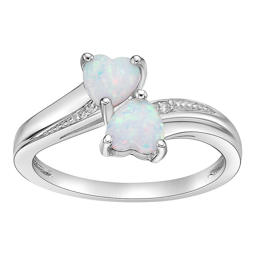 Sterling Silver Lab-Created Opal & Diamond Accent Heart Bypass Ring