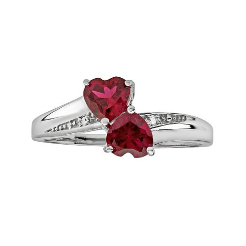 Sterling Silver Lab-Created Ruby & Diamond Accent Heart Bypass Ring