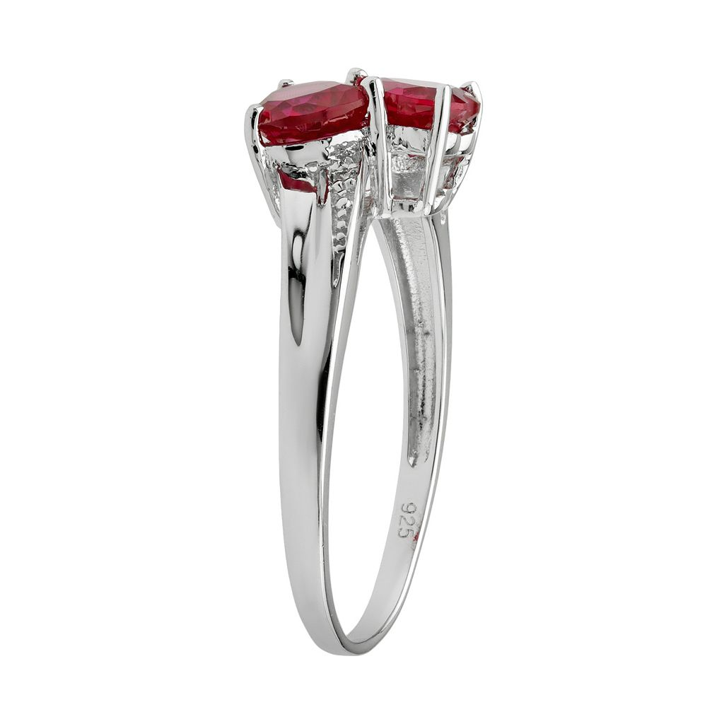 Sterling Silver Lab-Created Ruby and Diamond Accent Heart Bypass Ring