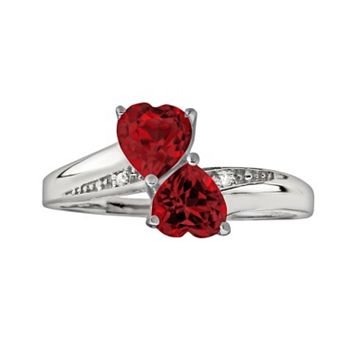 Sterling Silver Garnet & Diamond Accent Heart Bypass Ring