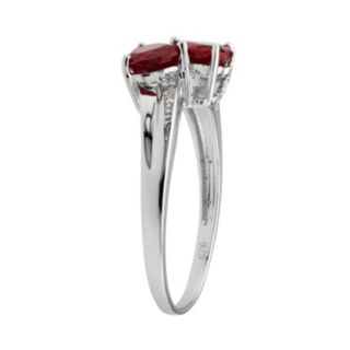 Sterling Silver Garnet and Diamond Accent Heart Bypass Ring