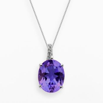 Sterling Silver Amethyst and Diamond Accent Oval Pendant